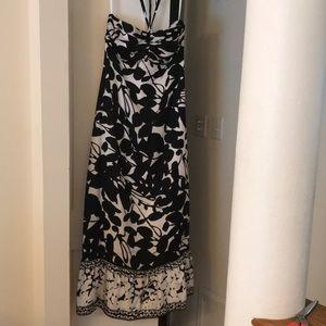 WHBM silk halter maxi dress